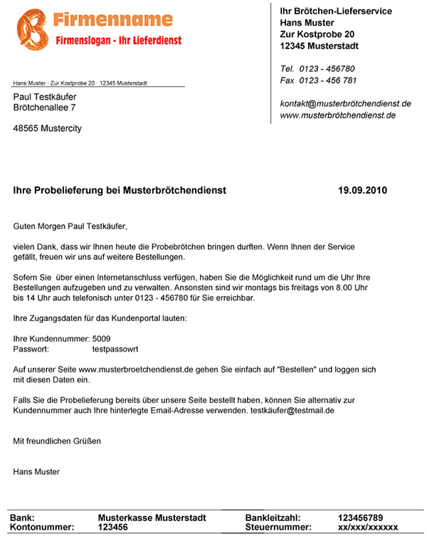 Software Für Brötchen Lieferdienste Probeanschreiben