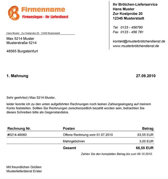 Software Für Brötchen Lieferdienste Mahnwesen Zahlungserinnerung